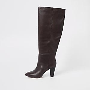 Brown knee high block heel boots