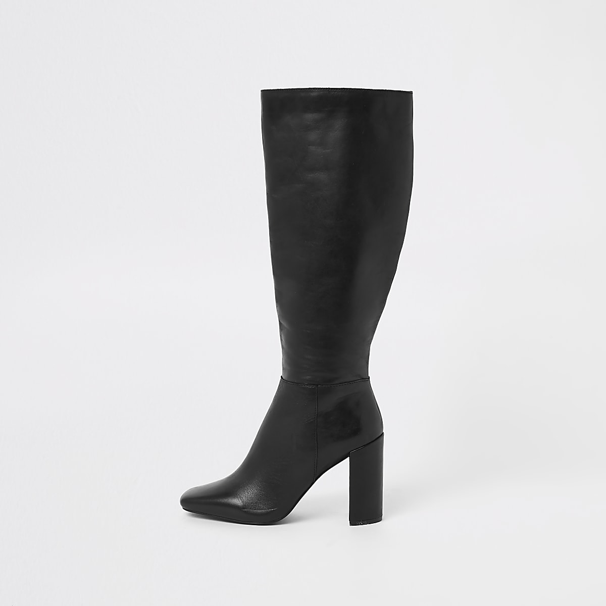 c530f9905fe Black leather square toe knee high boots - Boots - Shoes   Boots - women