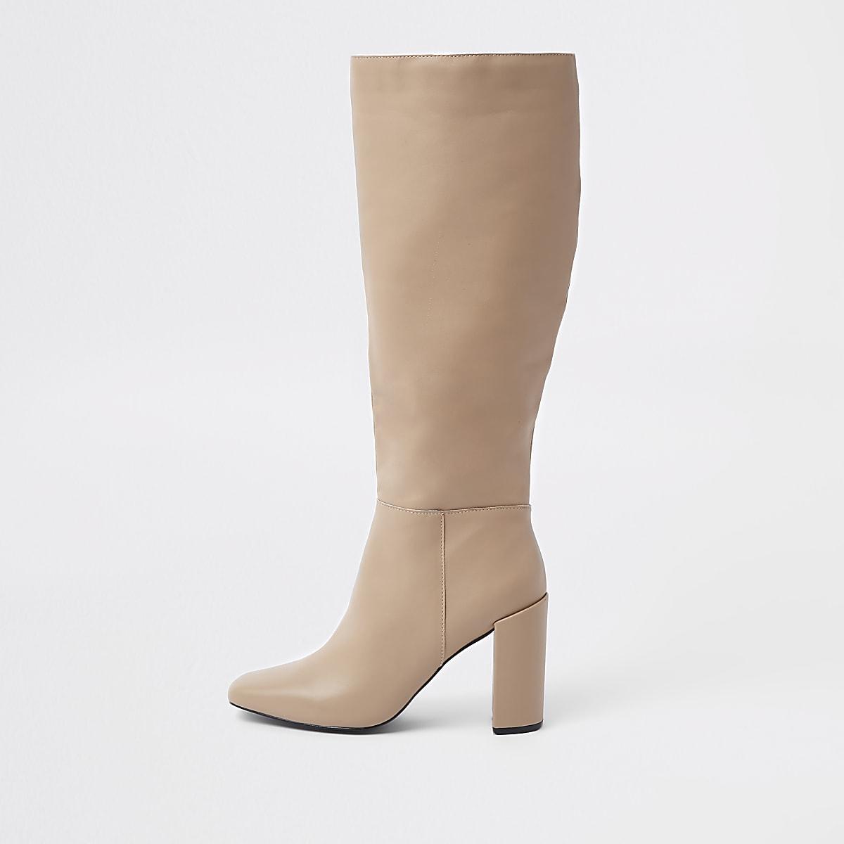 Cream leather block heel knee high boots