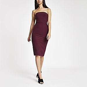 Dark purple bow back bandeau bodycon dress