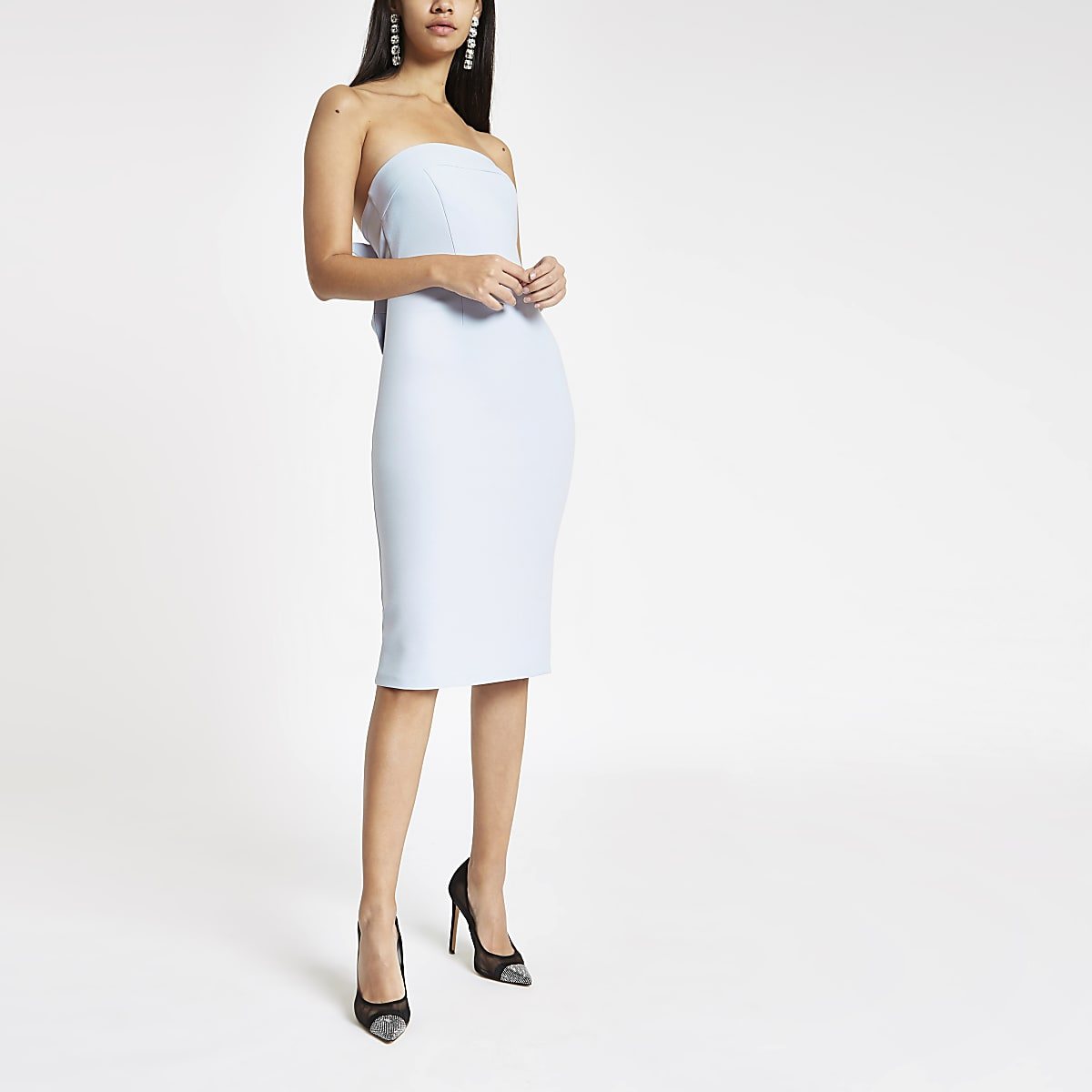 Blue bow bandeau bodycon dress