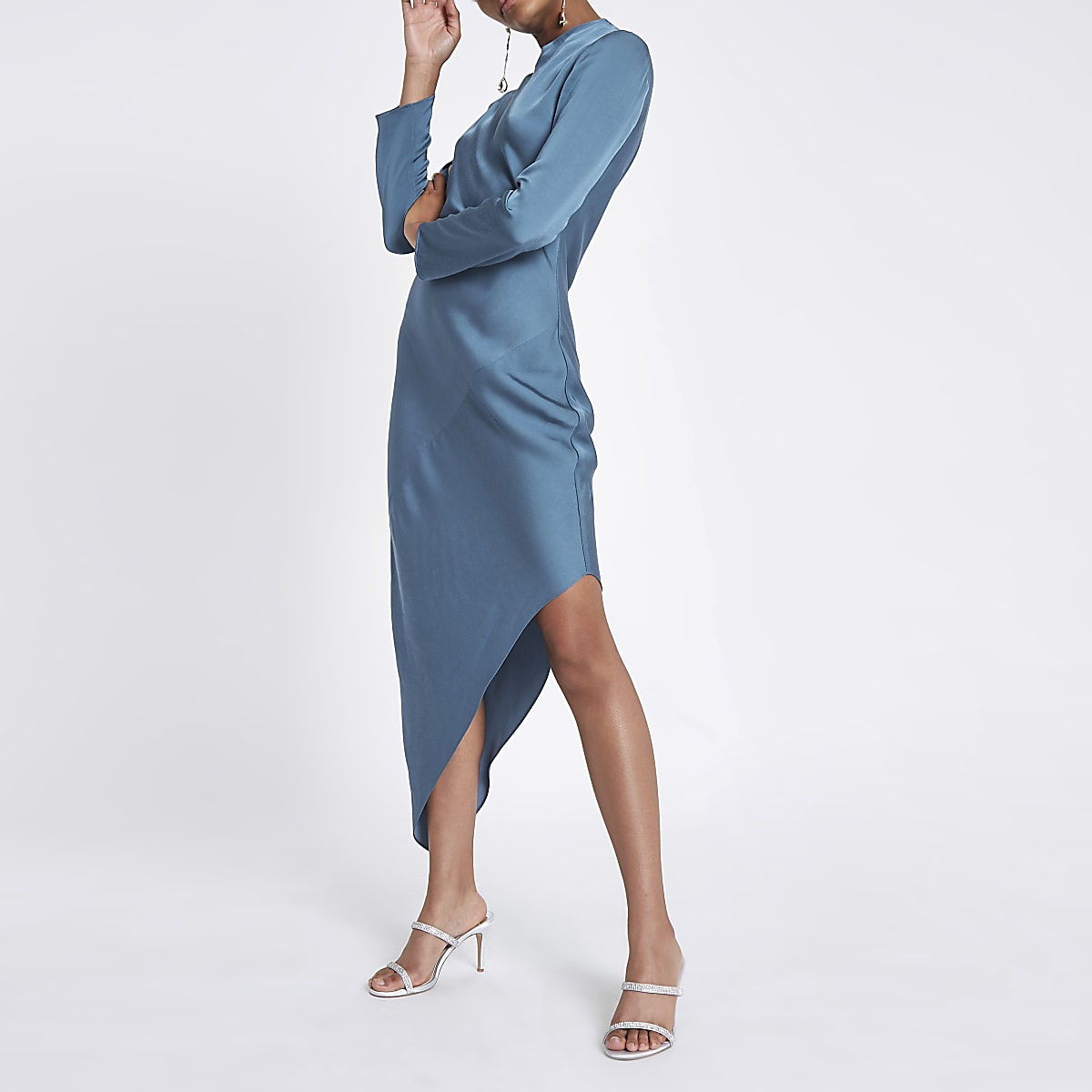 Blue long sleeve asymmetric hem dress