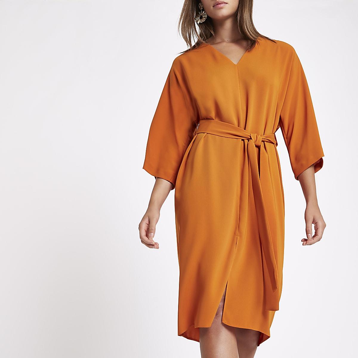 Orange tie waist wrap midi dress