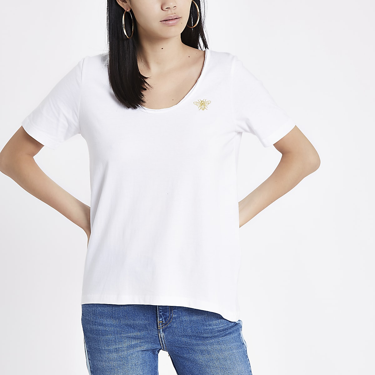 efb1d0213194 White round scoop neck T-shirt - T-Shirts - Tops - women