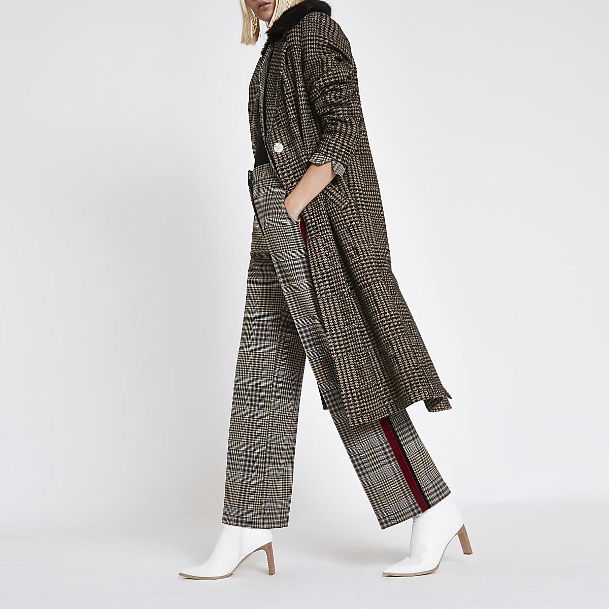 Brown check faux fur knit coat