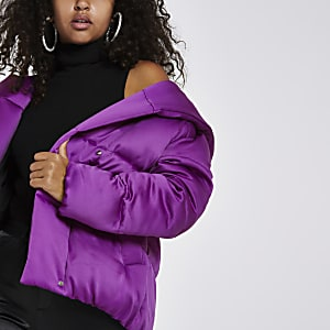 Bright purple puffer coat