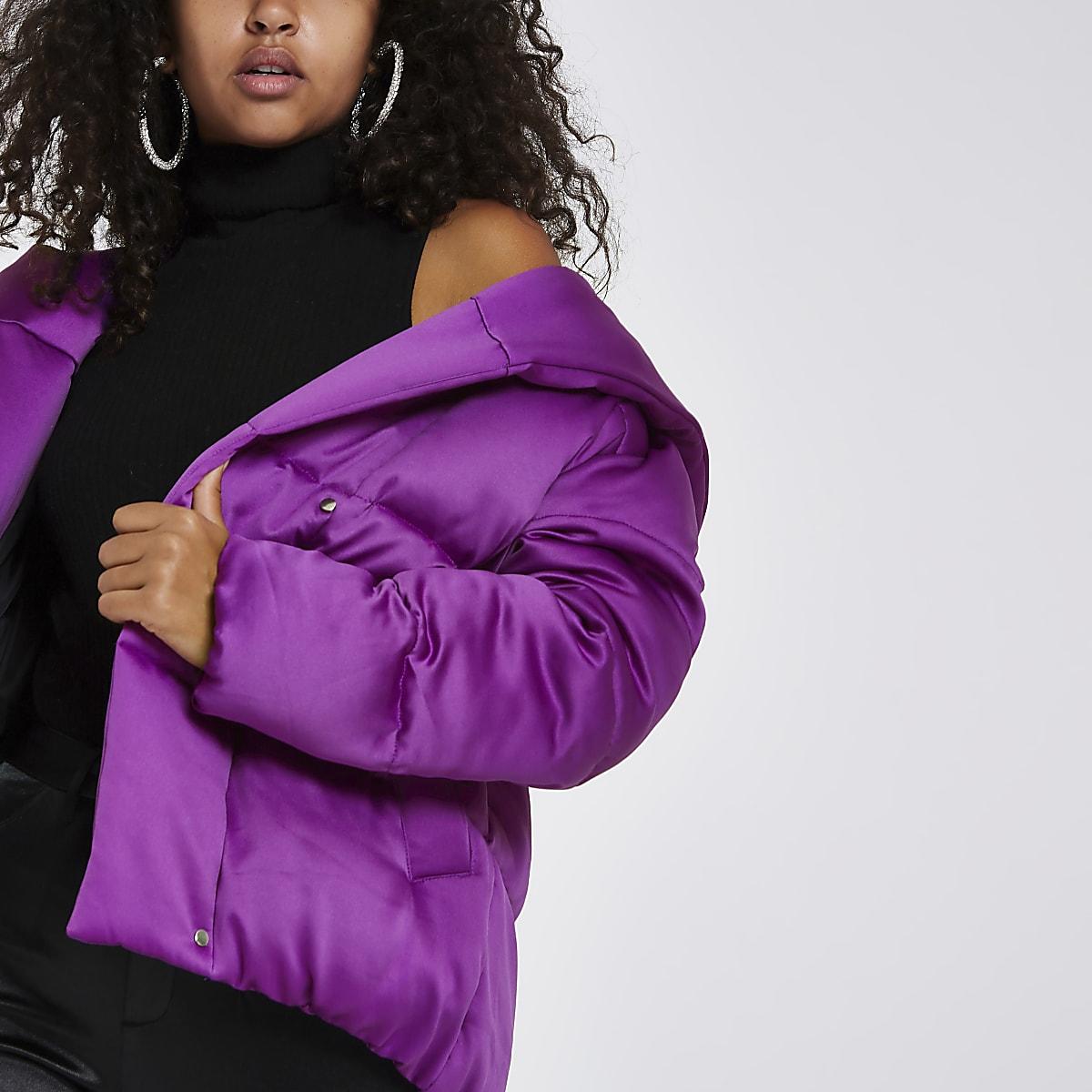 Bright purple puffer coat