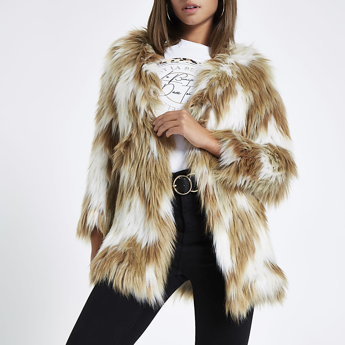 Light brown knitted faux fur coat