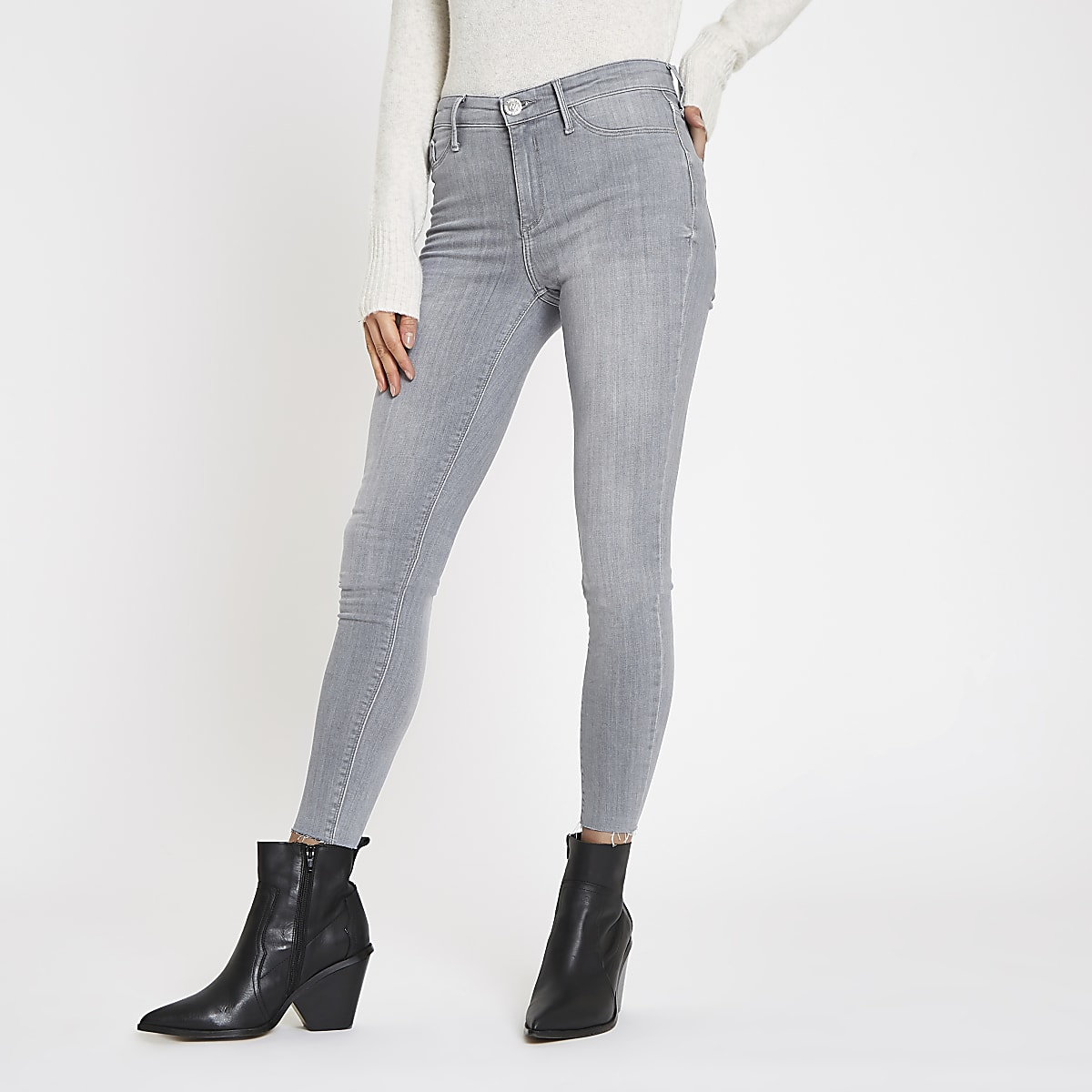 Grey mid rise raw hem Molly jeggings