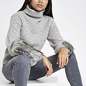 Petite grey faux fur trim roll neck jumper