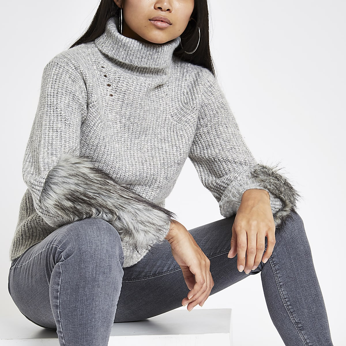 Petite grey faux fur trim roll neck sweater