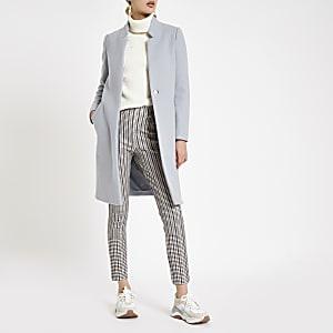 Light grey wool blend longline coat