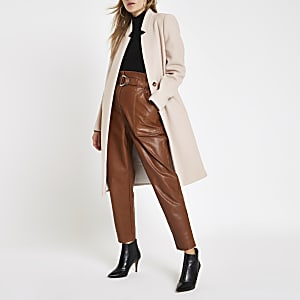 Cream collarless longline coat