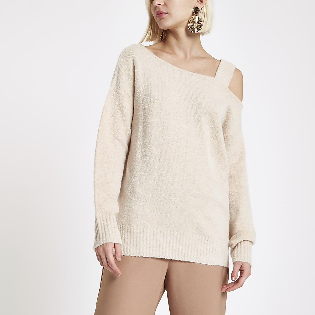 Beige asymmetric shoulder knit jumper