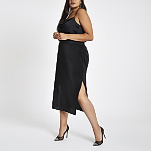 Plus black glitter lining pencil skirt