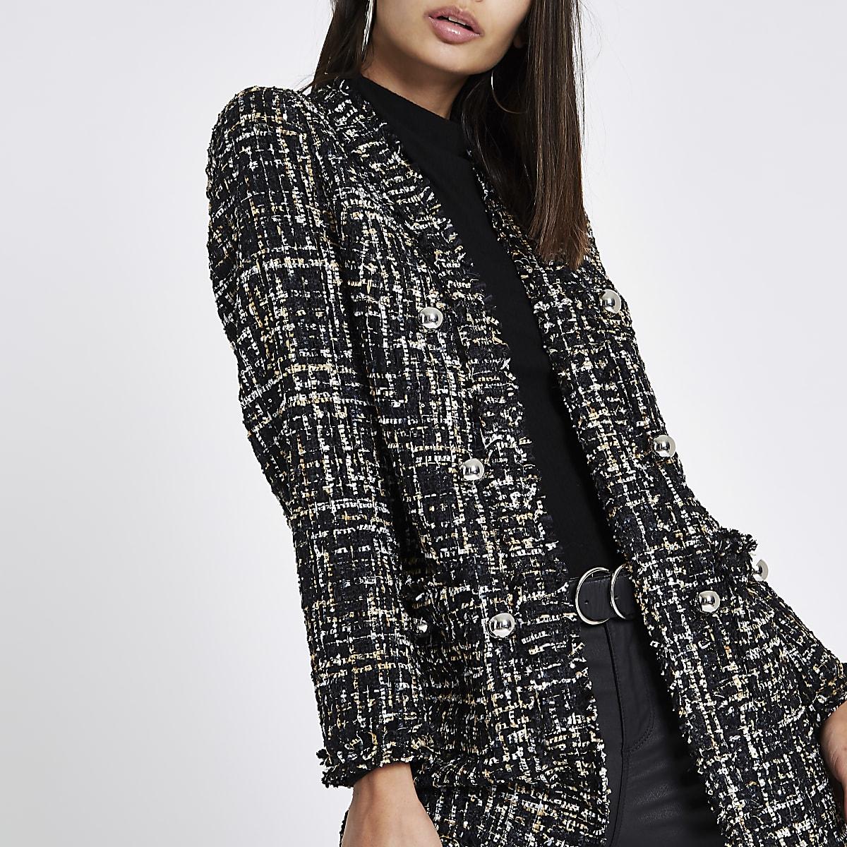 Manteau en maille bouclée à carreaux noir