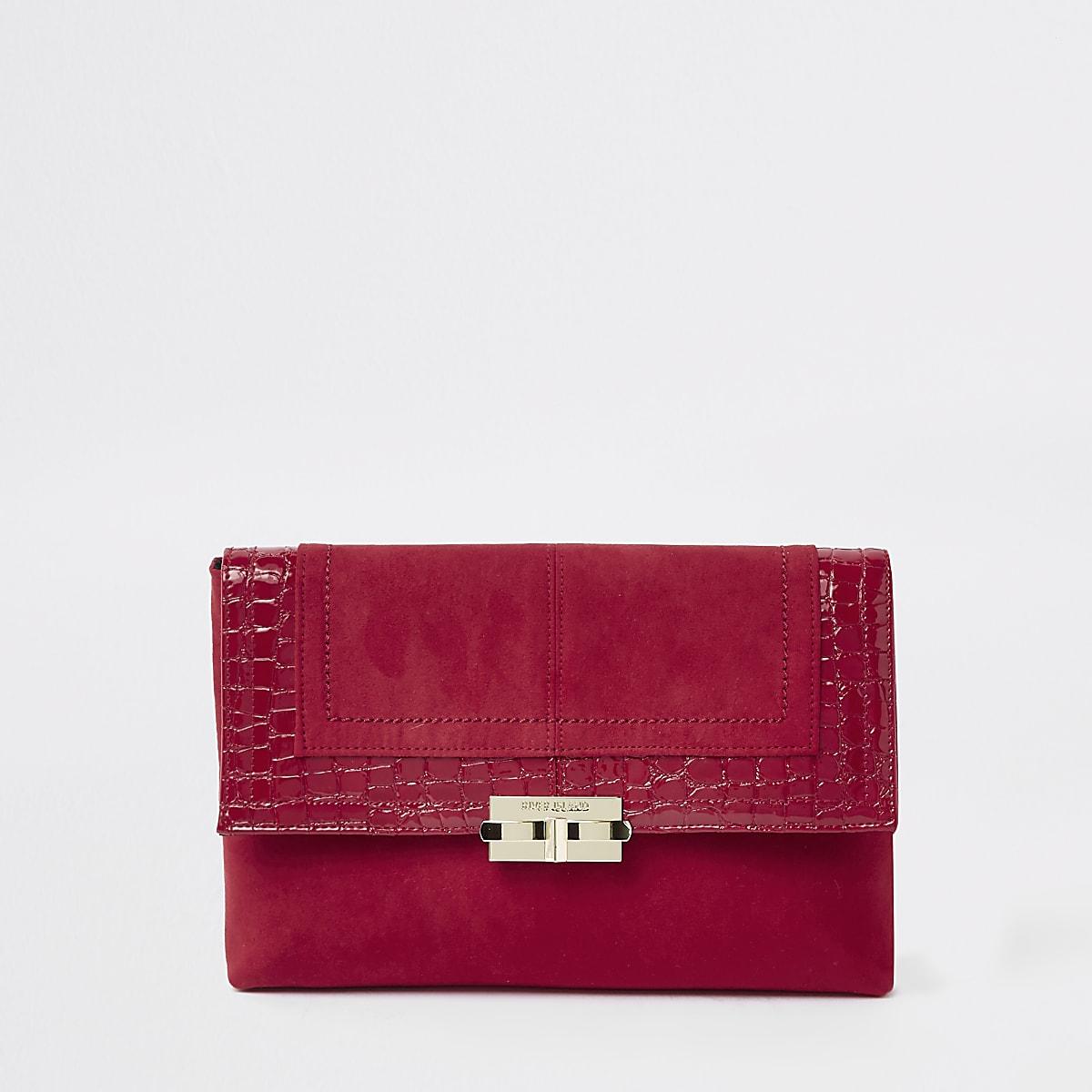 Dark red lock front clutch bag