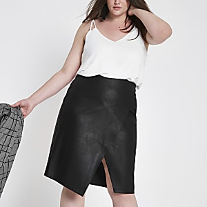 Plus black wrap front pencil skirt
