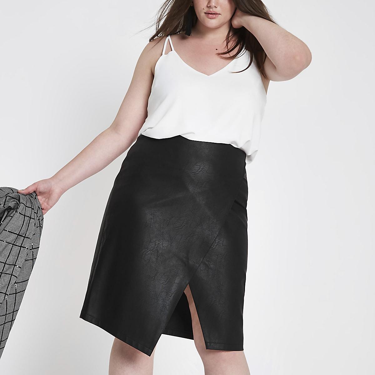 Plus black wrap front pencil skirt