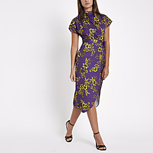 Purple floral print tie waist midi dress