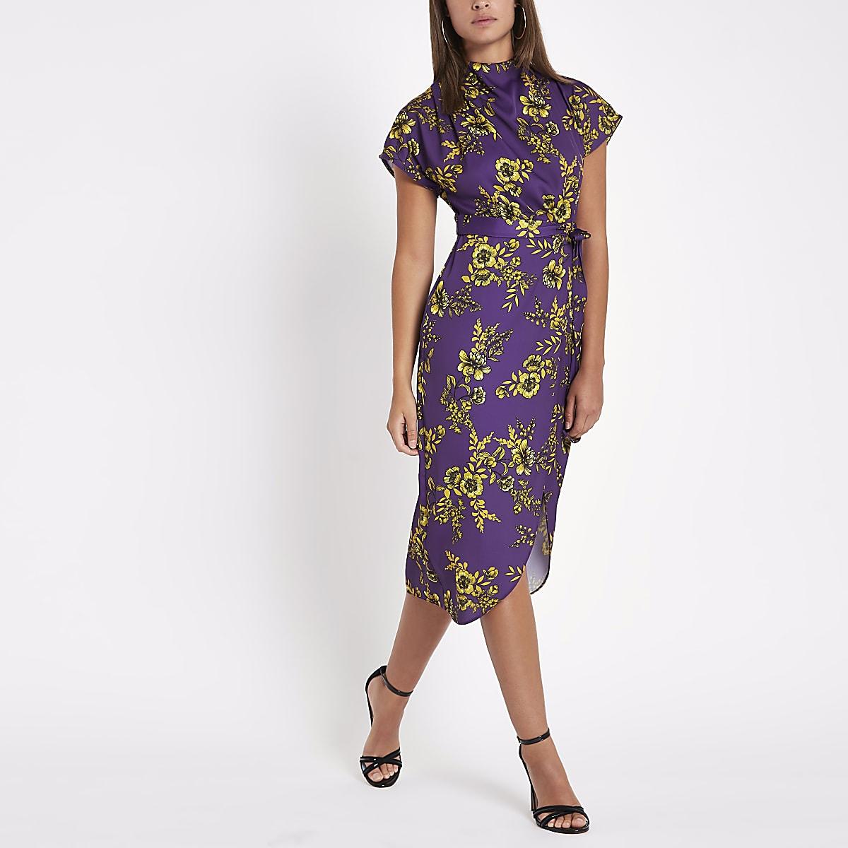 c3a499974bd86 Purple floral print tie waist midi dress - Swing Dresses - Dresses - women
