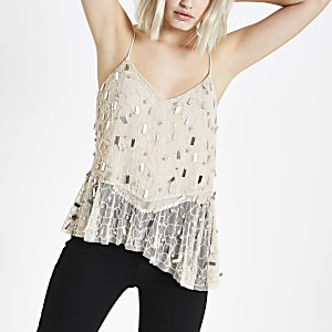 Cream sequin asymmetic hem cami top