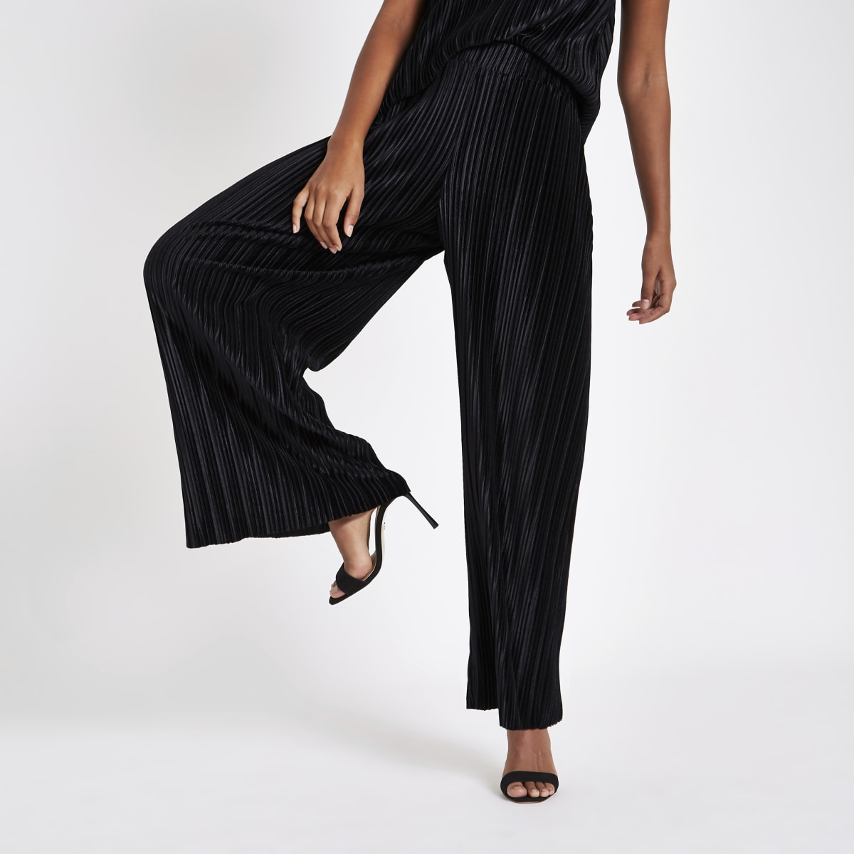Black velvet pleated jersey wide leg trousers