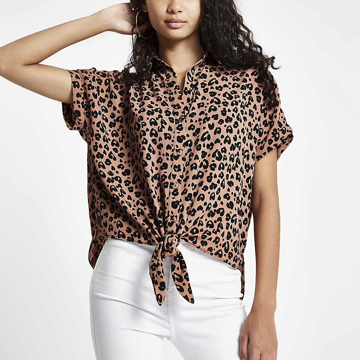 9302d59c69cbb Brown leopard printed tie front shirt - Shirts - Tops - women