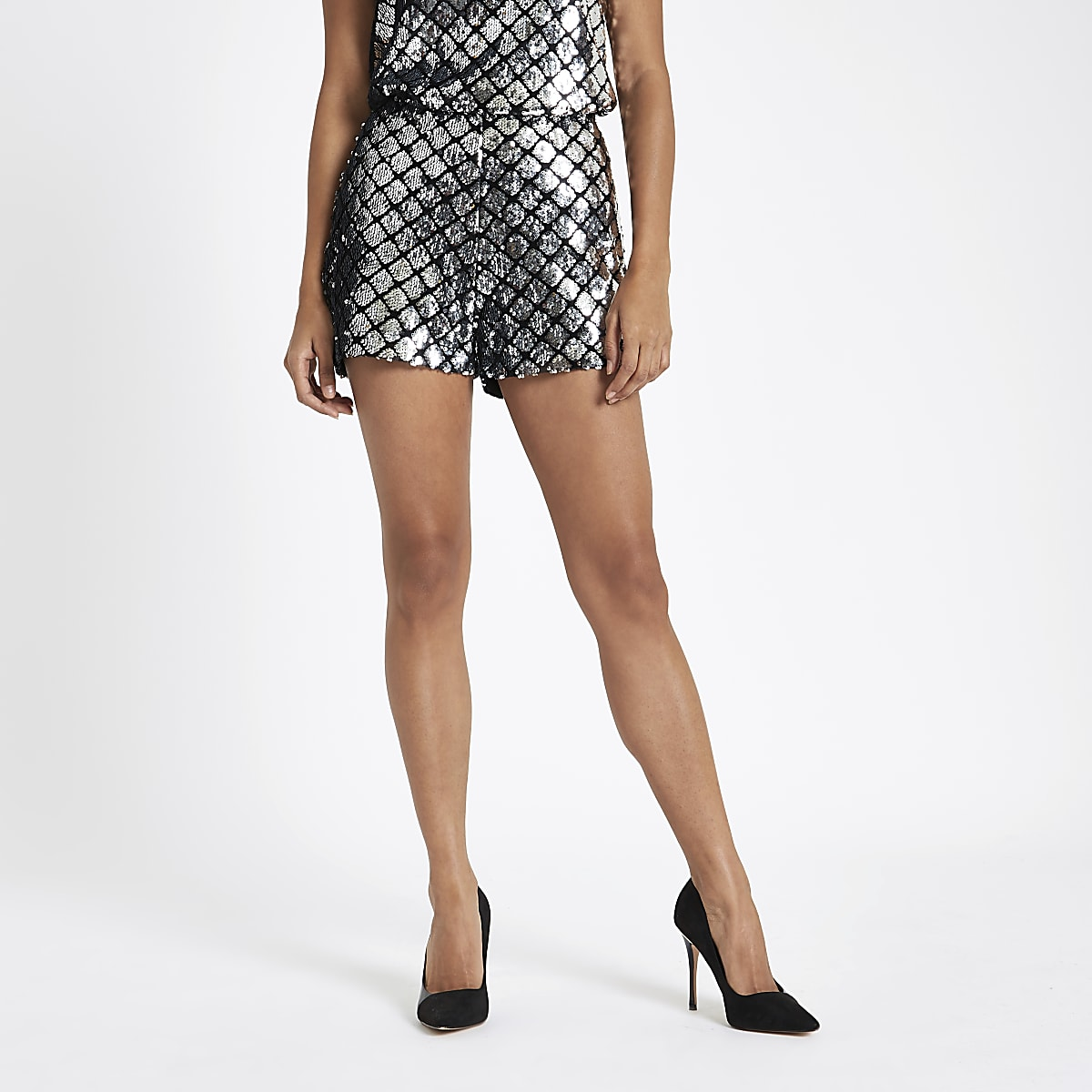 Petite silver sequin embellished zip shorts