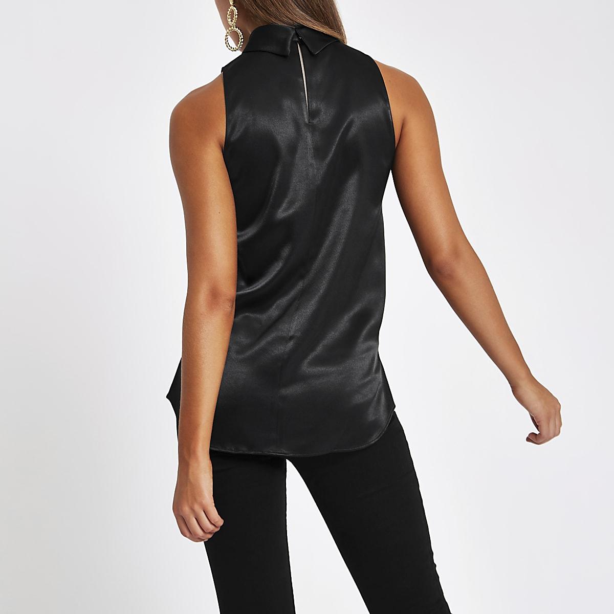 1fce33558cc Black chiffon roll neck sleeveless top