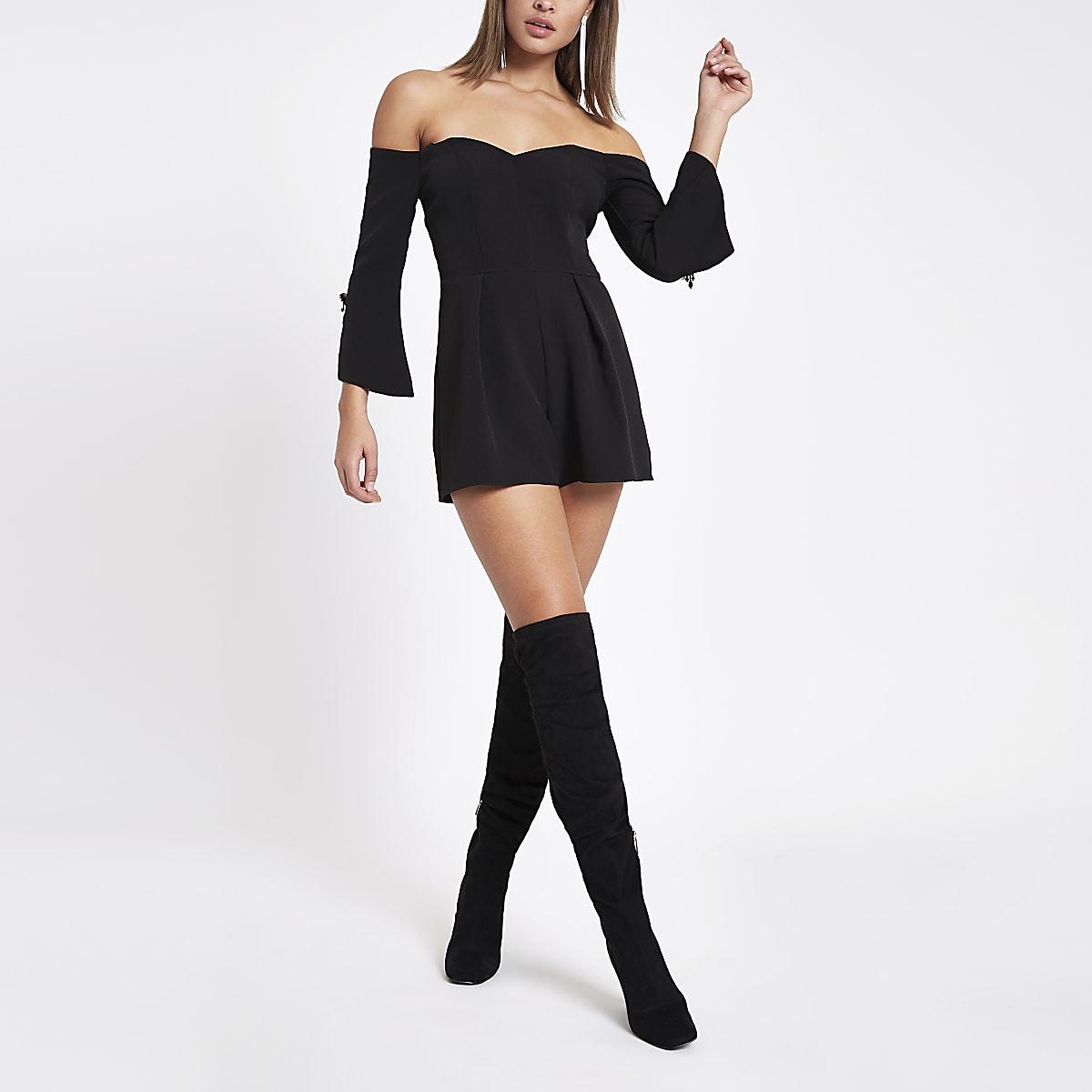 Black bardot tux playsuit