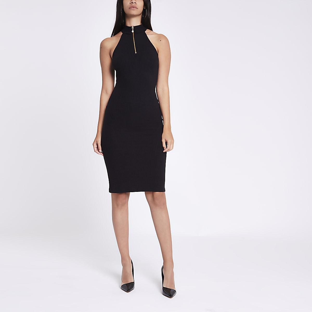 Black halter neck zip mini bodycon dress