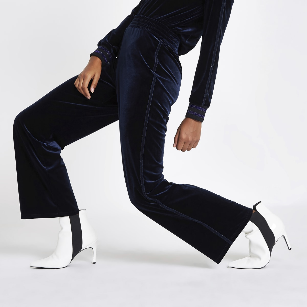 Navy velvet wide leg metallic trim trousers