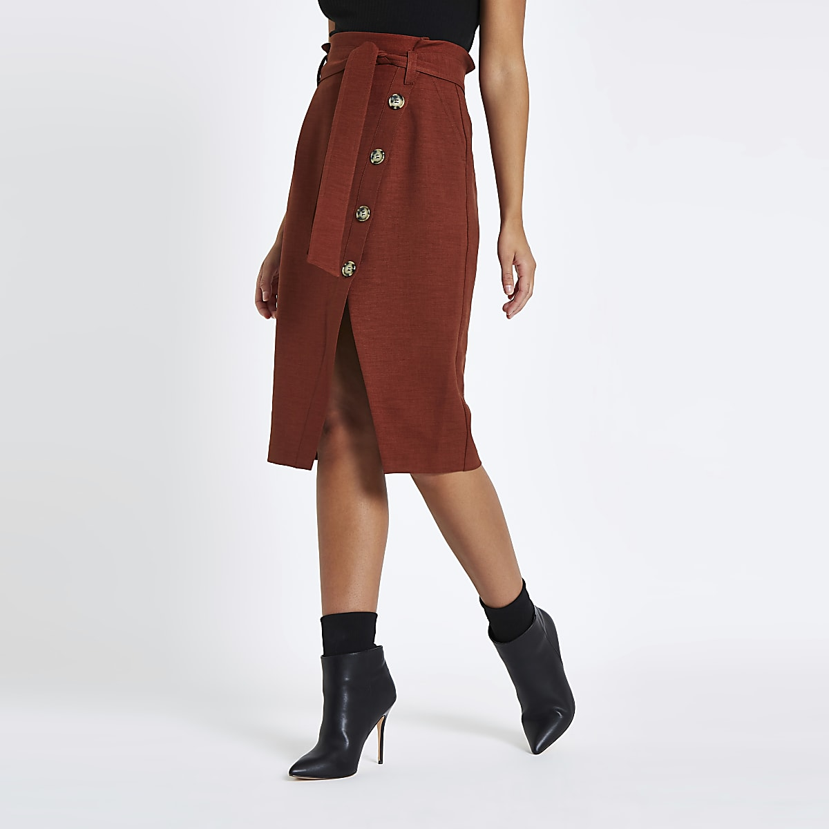 Rust paperbag button front pencil skirt