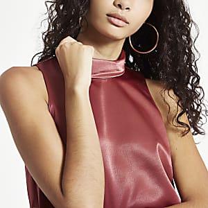Copper chiffon roll neck sleeveless top