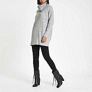 Light grey knit roll neck sweater dress
