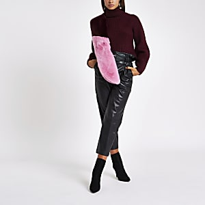 Burgundy knit roll neck jumper