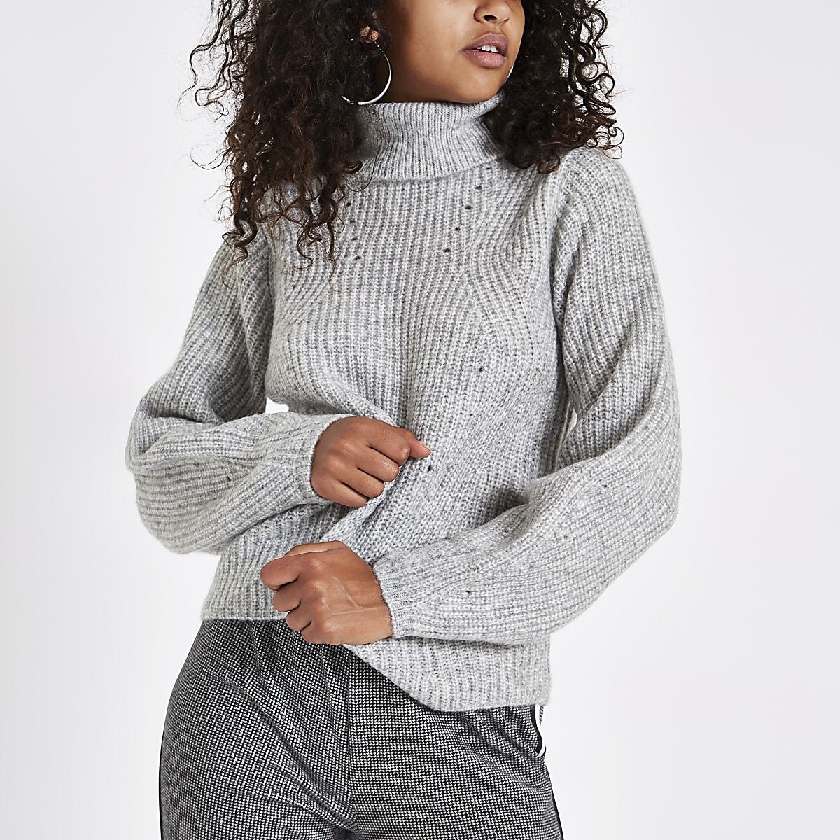 7fb934a09a3332 Grey knit roll neck jumper Grey knit roll neck jumper ...