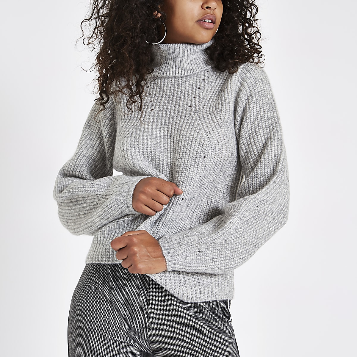Grey knit roll neck sweater
