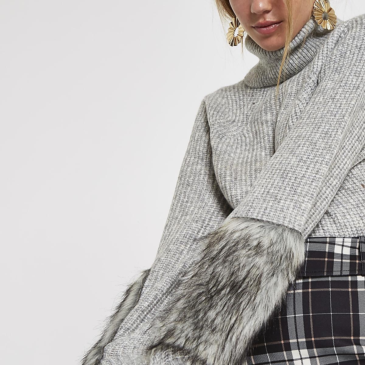 Grey knit faux fur trim roll neck sweater