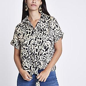 Cream leopard print tie front shirt