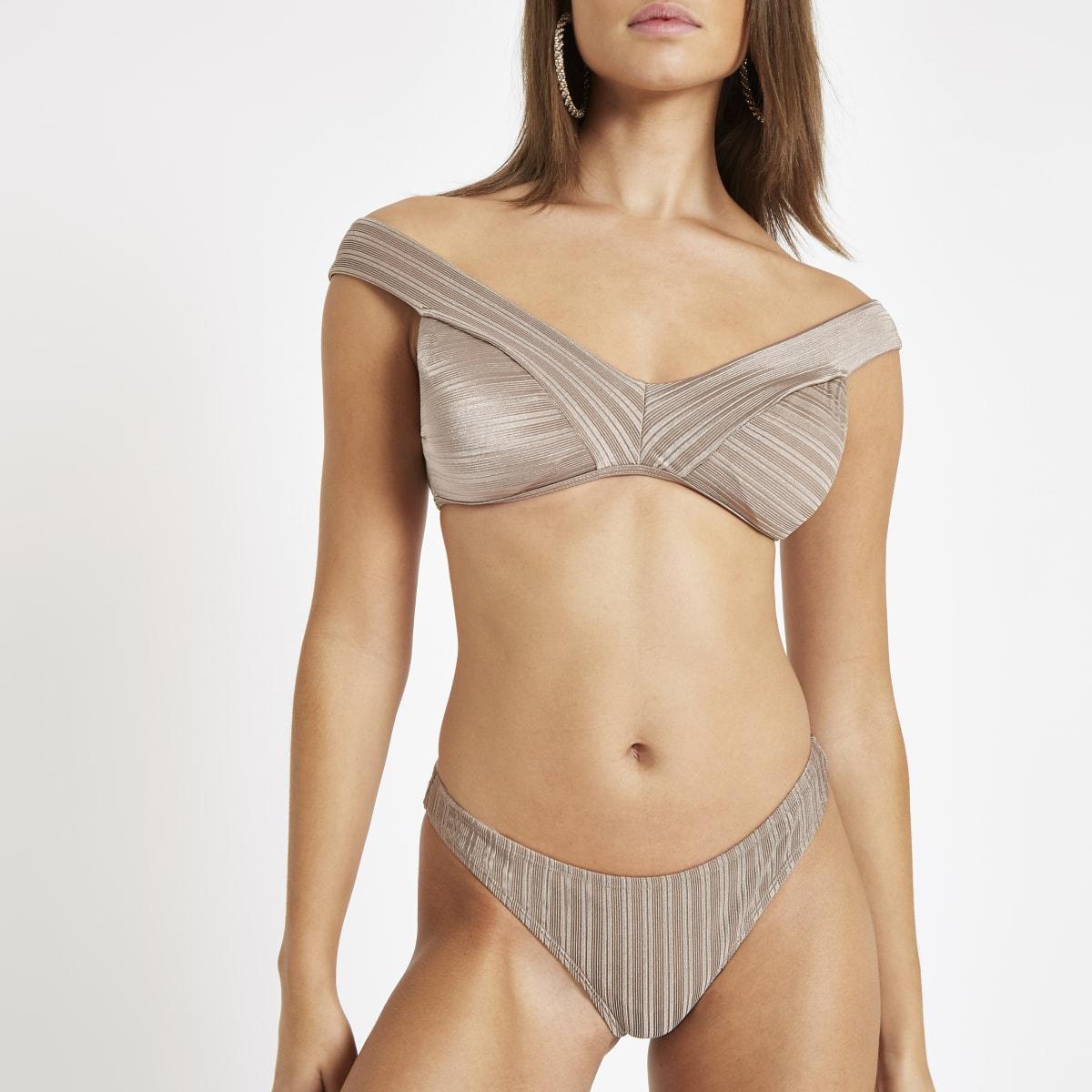Khaki textured high leg bikini bottoms