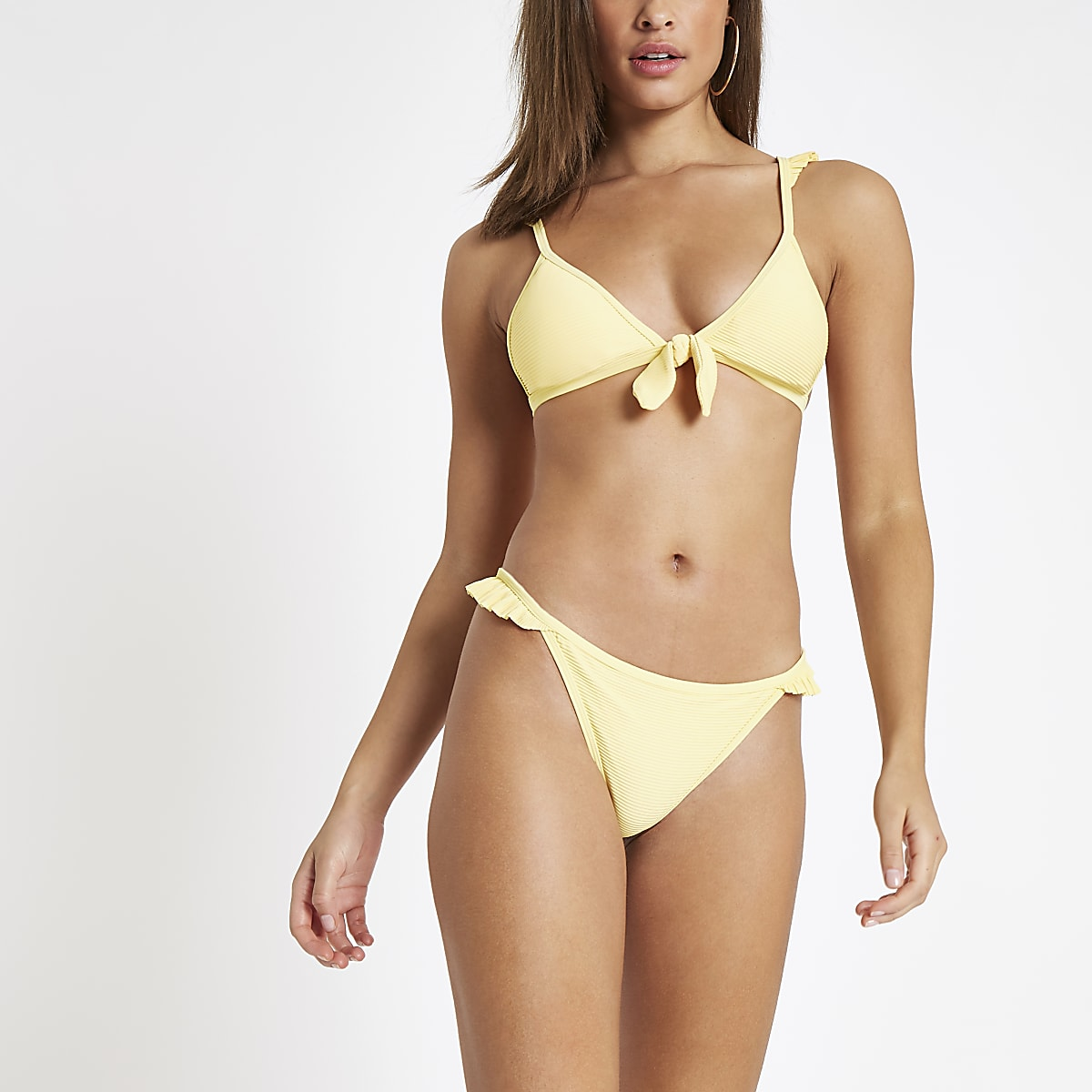 Yellow ribbed knot front triangle bikini top
