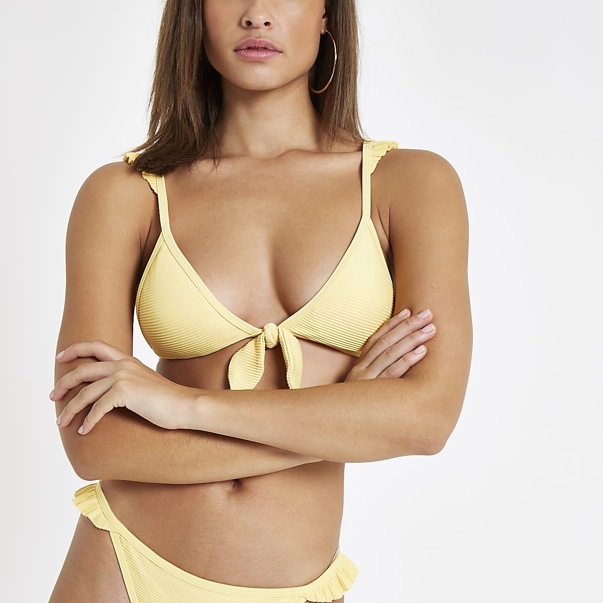 6657939625 Yellow ribbed knot front triangle bikini top - Bikini Tops - Bikinis ...