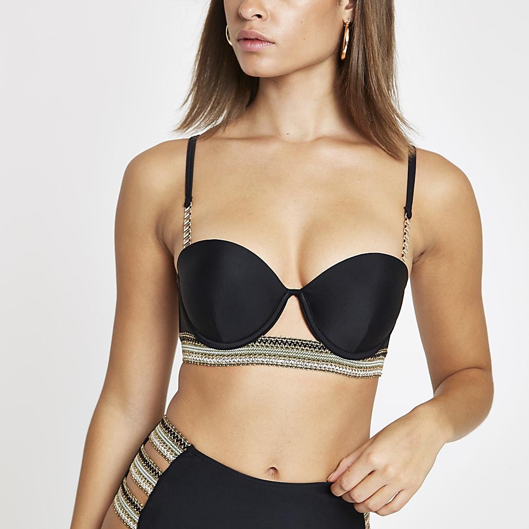 Zwarte balconette bikinitop met metallic randje