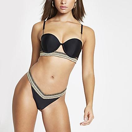 Black metallic trim high leg bikini bottoms