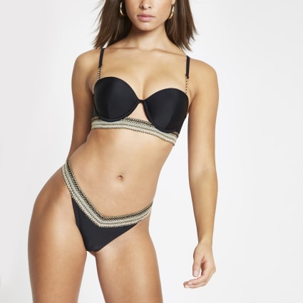 Black metallic trim high leg bikini bottoms