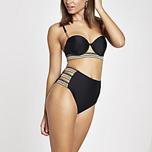 Bas de bikini taille haute noir à lanières sur les côtés