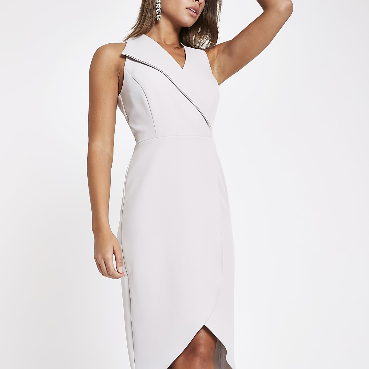 Grey wrap front sleeveless midi dress