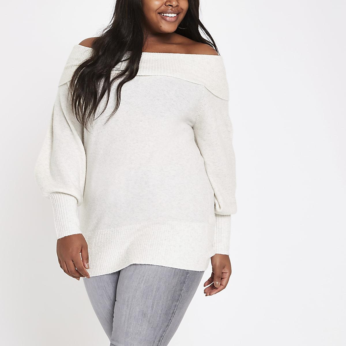 Plus cream knit bardot sweater